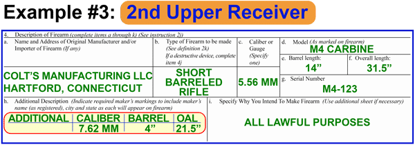 How to fill out the ATF Form 1 with 2nd upper receiver