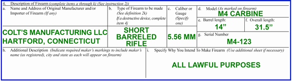 How to fill out the ATF Form 1 when building a short barreled rifle